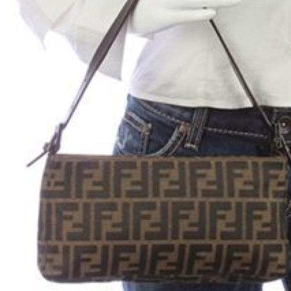 Fendi Handbags - Fendi Brown Zucca Canvas Pochette Bag (Used) e24ca3d09f345